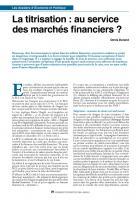 3 - La titrisation : au service des marchés financiers ?