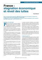 France : stagnation économique et réveil des luttes
