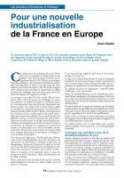 Pour une nouvelle industrialisation de la France en Europe