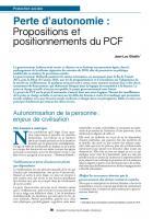 Perte d'autonomie :  Propositions et positionnements du PCF
