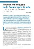 Pour un rôle nouveau de la France dans la lutte contre le réchauffement climatique !