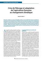 Crise de l'élevage et adaptation de l'agriculture française  au changement climatique