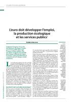 L'euro doit développer l'emploi,  la production écologique  et les services publics (1)