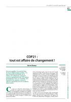 COP21 :  tout est affaire de changement !
