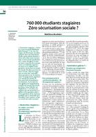 760 000 étudiants stagiaires Zéro sécurisation sociale ?