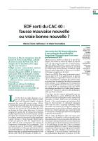 EDF sorti du CAC 40 :  fausse mauvaise nouvelle  ou vraie bonne nouvelle ?