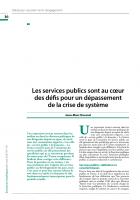 Les services publics sont au cœur des défis pour un dépassement de la crise de système
