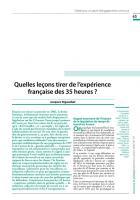 Quelles leçons tirer de l'expérience française des 35 heures ?