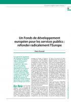 Un Fonds de développement européen pour les services publics : refonder radicalement l'Europe