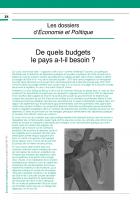 De quels budgets le pays a-t-il besoin ?