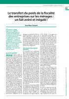 Le transfert du poids de la fiscalité des entreprises sur les ménages : un fait avéré et inégalé ! Jean-Marc Durand