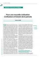 Pour une nouvelle civilisation Civilisation et histoire de la pensée