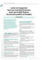 Lutter et s'organiser face aux marchés financiers pour que la BCE finance  les services publics et l'emploi