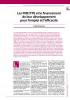 Les PME/TPE et le financement de leur développement pour l'emploi et l'efficacité
