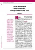 L'enjeu civilisationnel  des services publics Dialogue avec Roland Gori