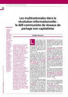 Les multinationales dans la révolution informationnelle : le défi communiste de réseaux de partage non capitalistes