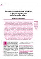 Le travail dans l'analyse marxiste : Le travail « moment de la regénération humaine »*