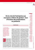 De la crise de l'entreprise aux nouveaux critères de gestion : tour d'horizon des propositions en présence