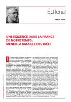 Une exigence dans la France de notre temps : mener la bataille des idées