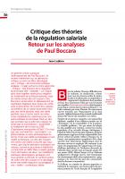 Critique des théories de la régulation salariale - Retour sur les analyses de Paul Boccara