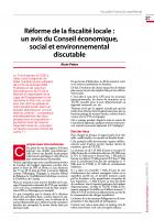 Réforme de la fiscalité locale :  un avis du Conseil économique, social et environnemental discutable