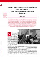 Enjeux d´un service public moderne de l'éducation  face aux opérations de casse  en cours