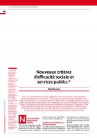 Nouveaux critères  d'efficacité sociale et services publics