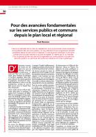 Pour des avancées fondamentales sur les services publics et communs depuis le plan local et régional