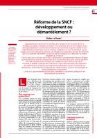 Réforme de la SNCF : développement ou démantèlement ?