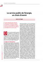 Le service public de l'énergie, un choix d'avenir