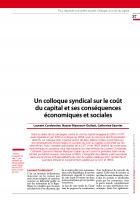 Un colloque syndical sur le coût du capital et ses conséquences économiques et sociales