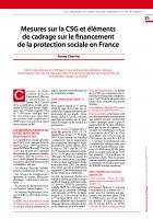 Mesures sur la CSG et éléments  de cadrage sur le financement  de la protection sociale en France