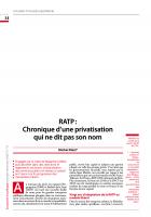 RATP : Chronique d'une privatisation  qui ne dit pas son nom