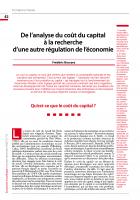 Formation et théorie : De l'analyse du coût du capital  à la recherche d'une autre régulation de l'économie