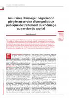Assurance chômage : négociation piégée au service d'une politique publique de traitement du chômage au service du capital