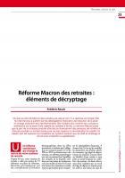 Réforme Macron des retraites : éléments de décryptage