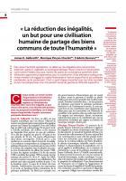 « La réduction des inégalités,  un but pour une civilisation humaine de partage des biens communs de toute l'humanité »