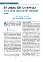 Sur certains défis fondamentaux d'une autre construction mondiale. (3eme partie)