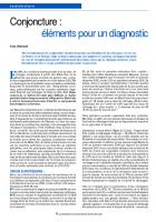 Conjoncture : éléments pour un diagnostic