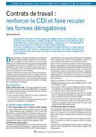 Contrats de travail : renforcer le CDI et faire reculer les formes dérogatoires