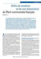 Défis de novation  et de non-dissolution du Parti communiste français
