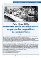 Paris,  15  mai  2008 : rencontre  sur la crise financière, sa portée, les propositions  des communistes