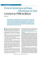Crise et dynamique politique d'Amérique du Sud  s'invitent au FSM de Belem