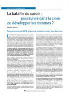 La bataille du savoir :  poursuivre dans la crise ou développer les hommes ?
