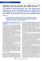 Quelle est la portée du G20 d'avril ? Le débat international sur les mesures publiques et les insuffisances du G20, face aux défis du tournant de la crise systémique