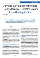 Dernière partie de la formation  consacrée au Capital de Marx  Livre III chapitre XV