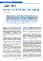 La fiscalité au centre de l'enjeu de classes