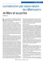La traduction par «plus-value»  de «Mehrwert » de Marx et sa portée