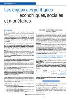 Les enjeux des politiques  économiques, sociales et monétaires