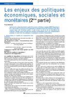 Les enjeux des politiques économiques, sociales et monétaires (2ème partie)